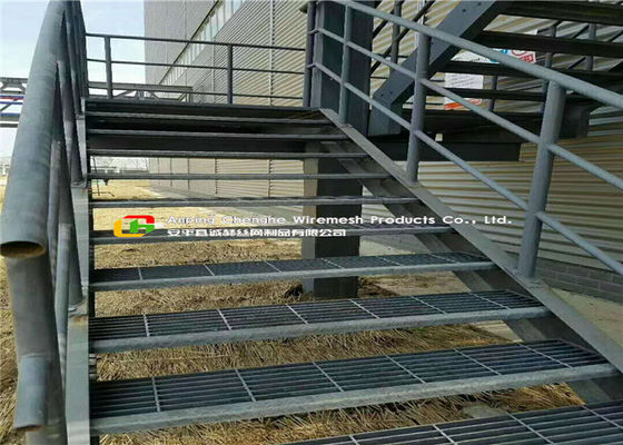 Water / Power Plant Steel Stair Treads Grating Hot Dipped Galvanized